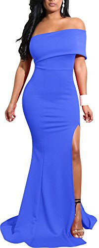 Mermaid Dresses Slit Stretchy Solid Bodycon Party Cocktail Club Long Dress 2018 Spring Summer XL 12 14 Blue ¡­ (Gown Prom Slim)