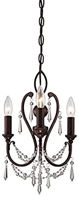 "Minka Lavery 3138-284 11.5"" Three Light Mini Chandelier, Vintage Bronze Finish"