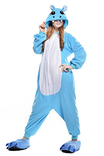 Newcosplay Adult Onesie Cosplay Costume Sleepwear Pajamas (M, blue hippo)