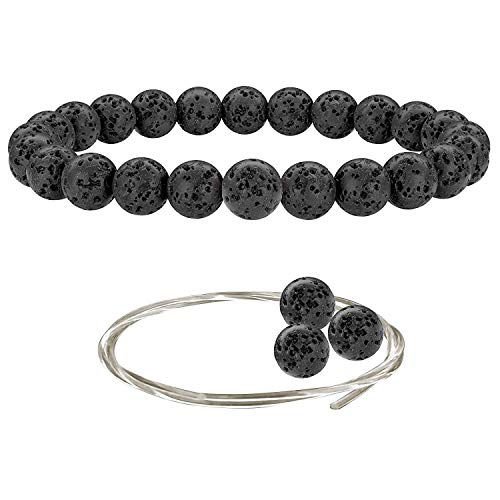 Beaded Gemstone Bracelets for Men and Women: Lava Rock Bracelet with Spare Beads and Crystal Elastic Cord - Mens and Womens Essential Oil Jewelry - 7.25 Inch Stretch Bead Bracelet with 8mm Stone Beads