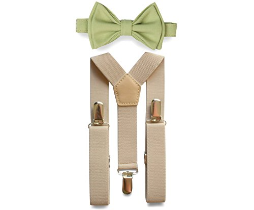 Tan Suspenders Bow Tie Set for Baby Toddler Boy Teen Men (3. Boy (7-12 yrs), Tan Suspenders, Sage Bow Tie) by Armoniia