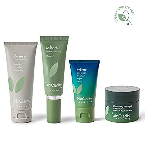 bioClarity Essentials Routine + Clarifying Masque | 30 day supply | 100% Vegan, Purify Pores, Reduce Redness & Even Skin Tone