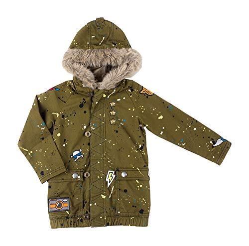 - Kinderkind Kids Toddler Boy Paint Splatter Parka with Faux Fur Lined Hood: Sizes 2T-3T-4T-5T