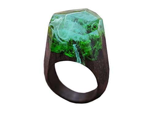 Green Wood Waterfall wood resin ring jewelry Handmade designer wood resign rings for women with landscape (9.5) by Green Wood