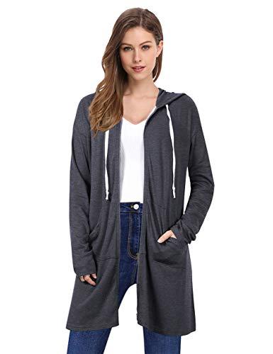 sual Pockets Zip up Hoodies Tunic Sweatshirt Long Hoodie Jacket ()