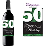 Green Happy 50th Birthday Glossy Wine bottle label Celebration Gift for Women and Men. by Purpleproducts