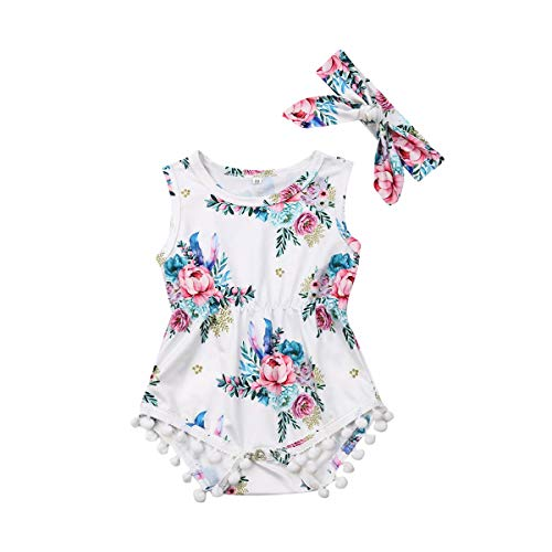 (Infant Baby Girls Floral Pompom Tassels Romper Bodysuit Sleeveless Jumpsuit Outfit with Headband Summer Clothes (Floral-White Peony, 6-12 Months) )