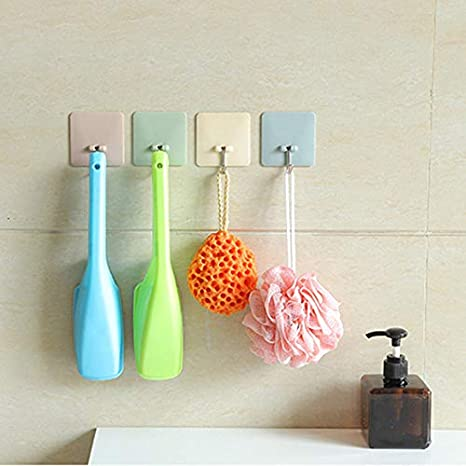 Inconpro 5x Self Adhesive Hook Wall hooks stick on Waterproof Stick Hook Wall Hanger for Clothes Towel Keys Bags Kitchen Bathroom Office Bedrooms Closets Living Room 6cm*6cm
