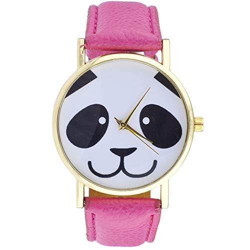 Gold Tone Black White Pink Animal Lover Panda Face Novelty Watch (Panda Watch)