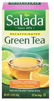 Salada Naturally Decaffeinated Original Antioxidant Green Tea Bags Citrus Flavored - 20 CT