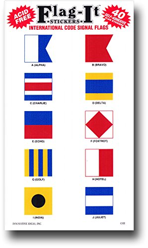 Nautical Code Signal - International Code Letter Stickers (40 (Nautical Flag Stickers)