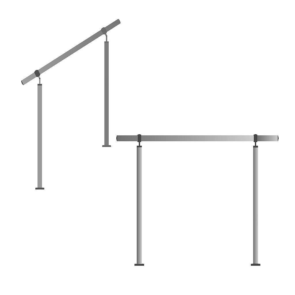 100cm, 3 Querstreben LZQ Edelstahl-Handlauf Gel/änder f/ür Treppen Br/üstung Balkon mit//ohne Querstreben