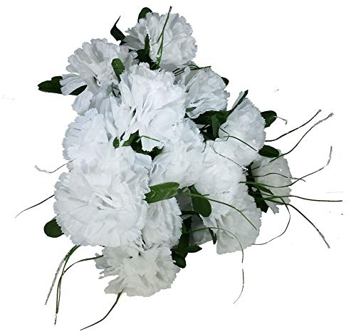 - MM TJ Products Artificial Carnations Bushes. 7 Stems Pack of 4 Bushes (White)