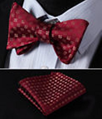 Red-and-gold Spider-man Costume (Mondaily DL118R Red Gold Floral Men Woven Silk Self Bow Tie Pocket Square Set #PPTE4663)