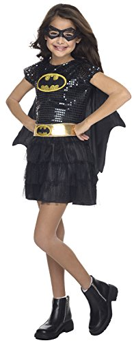 Bat Costumes For Child (Rubie's Costume DC Superheroes Batgirl Sequin Dress Child Costume, Medium)
