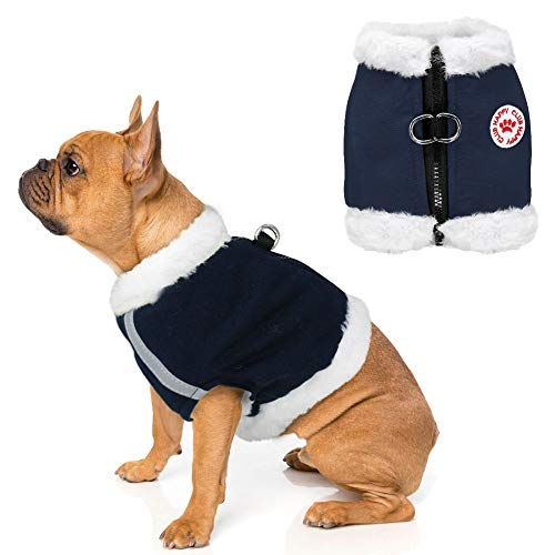 Stock Show Pet Dog Winter Warm Fleece Vest Harness Dog Cat Clothes Warm Vest Coat Adjustable No Pull Reflective Harness for Small Dogs Bulldog Chihuahua Teddy Terrier(No Leash Including), Dark Blue