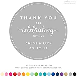Andaz Press Personalized Circle Labels Stickers, Wedding, Thank You for Celebrating With Us, 40-Pack - Custom Made Any Name,