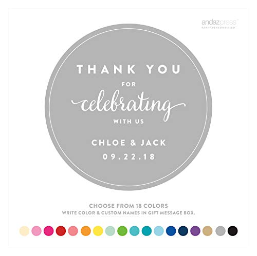 (Andaz Press Personalized Circle Labels Stickers, Wedding, Thank You for Celebrating With Us, 40-Pack - Custom Made Any Name,)