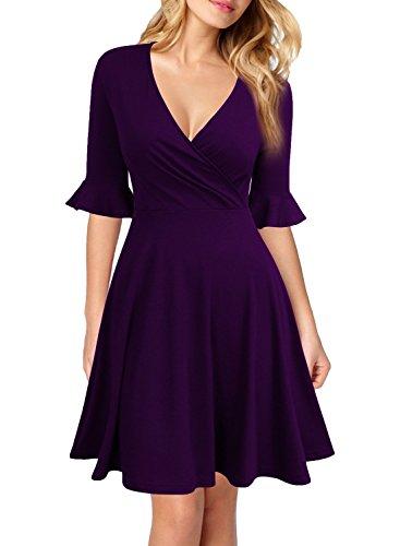 WOOSEA Women's Deep V Neck Flounce Bell Sleeve Casual Party Mini Dress Purple