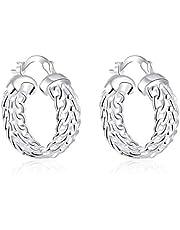 BESTPICKS 925 Sterling Silver Classic Circle Loop Hoop Earring Gift for Women