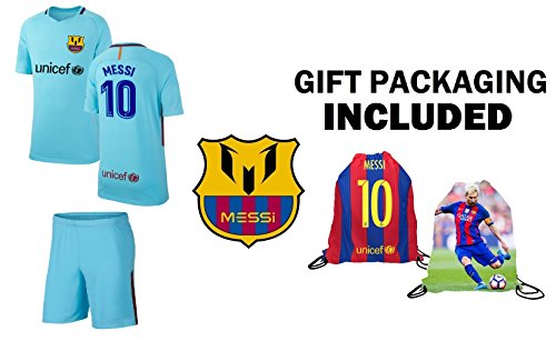 Lionel Messi Barcelona #10 Youth Soccer Jersey Away Short Sleeve Kit Shorts Kids Gift Set (YM 8-10 Years, Jersey -