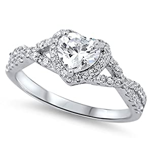 Sterling Silver .925 Halo Heart Promise Infinity Ring Band Sizes 4-12