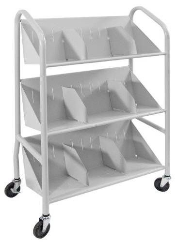 Buddy Products Sloped Shelf Cart, Steel, 14.25 x 26 x 26 Inches, Platinum, (5414-32)