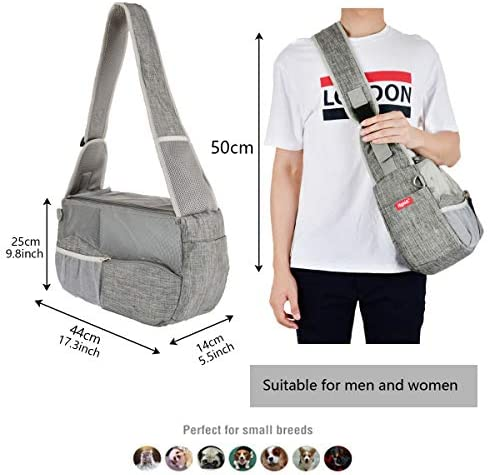 Highkit Pet Dog Carrier Sling with Adjustable Strap Breathable and Hands Free Shoulder Carry Bag for Cat and Small Dogs Grey