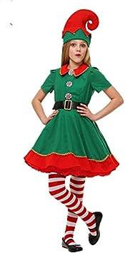 Disfraz de Duende de Navidad para Hombres, Mujeres y niños Navidad, Carnaval y Cosplay (160cm, Mujeres)