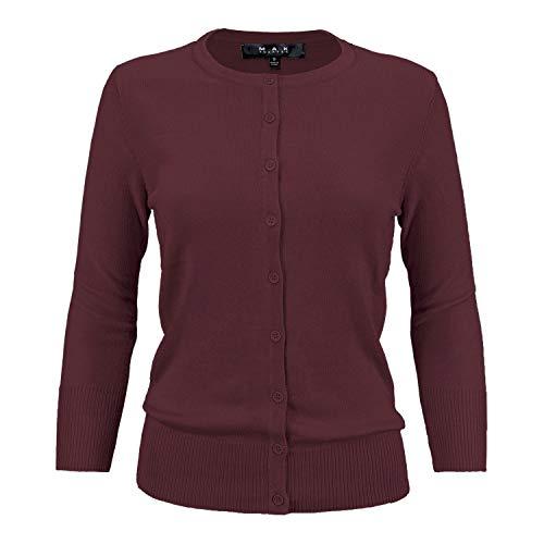 Women's Crewneck Button Down Knit Cardigan Sweater Vintage Inspired CO079-BUR-1X Burgundy