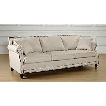 Amazon.com: Coaster 502511 Norah Rolled Arm Sofa In Oatmeal Tone ...