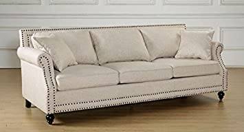 Amazon.com: TOV Muebles Camden Lino Sofá, color beige ...