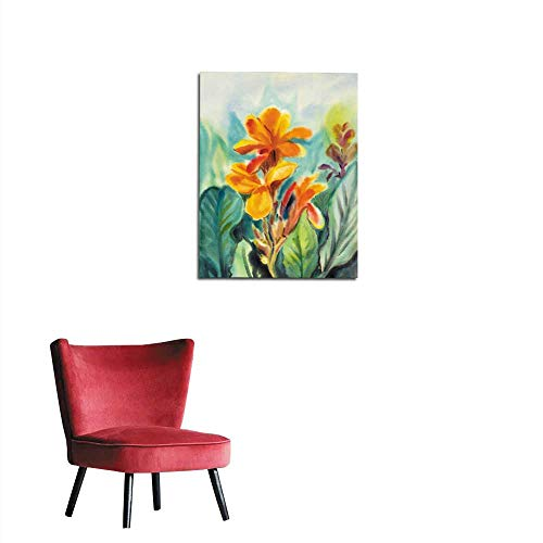 Unprecall Photographic Wallpaper Watercolor Painting Original Landscape Orange Color of Canna Lily Flowers Mural 20