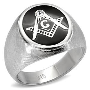 Men's Stainless Steel Clear Crystal Black Enamel Masonic Signet (Enamel Masonic Ring)