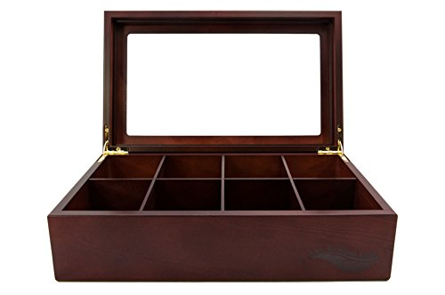 The Bamboo Leaf Wooden Tea Storage Chest Box with 8 Compartments and Glass Window (Bigelow Tea Box)