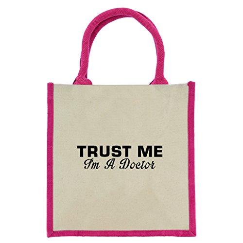 Trust Me I m A Doctor in schwarz print Jute Midi Einkaufstasche mit Pink Griffe und Trim