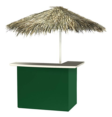 Best of Times 2001W1315P Solid Green-PALAPA Portable Bar and 8 ft Tall Square Umbrella, One Size Pantone 357