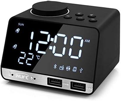 ミニHDデジタル目覚まし時計、デュアルUSBポート、内蔵ノイズ低減マイク、バックライト付きLCD画面、ワイヤレスBluetoothスピーカー、チューニングラジオ