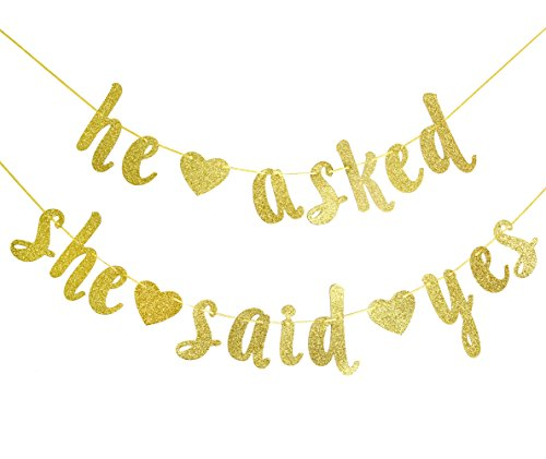 Qttier He Asked She Said Yes Gold Glitter Banner - Wedding, Engagement, Bridal Shower Party Decorations -