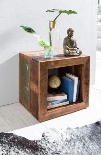Goedkoopste WOHNLING bijzettafel kalkutta 45 x 45 x 35 cm, massief houten kubustafel voor woonkamer, woonkamertafel met legplank, nachtkastje - nachtkastje - nachtkastje  bZIoFaL