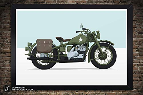 Vintage Indian Military Army Motorcycle (Circa 1940's WWII) Illustration, Paper Print - 12