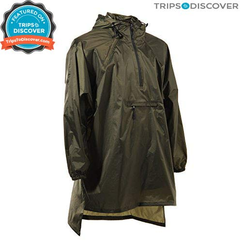 4ucycling Light Weight Easy Carry Wind Raincoat and Outdoor Rain Jacket Poncho,Army-Green,One Size