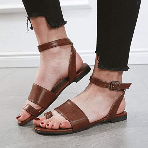 à Woman Sandales Brown bout et plates Waitfor chaussures Summer ouvert d'été boucle Beach basse élégantes plate 8Tgqpw