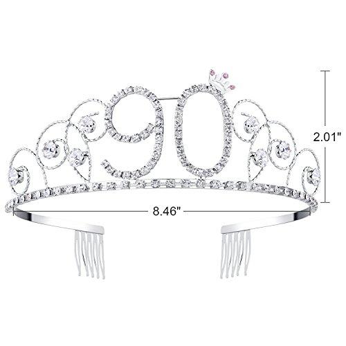 BABEYOND Crystal Tiara Birthday Crown Princess Crown Hair Accessories  Silver Rhinestone Diamante Happy 16 18 635b46234a49