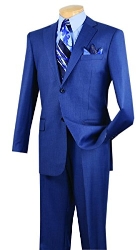 Vinci 2 Button Single Breasted Classic Fit Textured Weave Suit 2LK-1-Blue-42XL (Wool Extra Long Suit)
