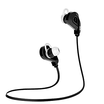 Sweatproof Sports Earphones,Mifine Bluetooth Headphones,Wireless Noise Cancelling Headset Stereo Bluetooth V4.1 Earbuds with Built in Microphone for iPhone iPad Android (Black)