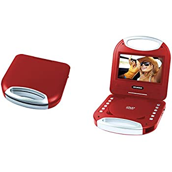 Sylvania SDVD7049 7-Inch Portable DVD Player with Handle, Red