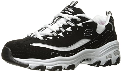 Skechers Sport Women's D'Lites Memory Foam Lace-up Sneaker,Black/White,9 W US -