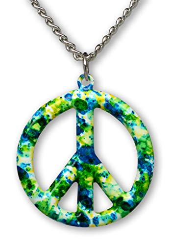 Real Metal Green Blue Hippie Tie Dye Peace Sign Enamel on Pewter Pendant Necklace (Medium)