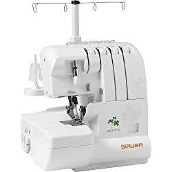 SiRUBA HSO-747D Overlock Sewing Machine for professional finish, with 2 Needle-4 Thread, versatile stitches, color coded threading guide, and micro safety switch